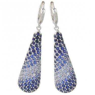 Graduating Blue Sapphire Ombre Earrings 925 Sterling Silver (4.6ct tw) SKU: 1833-925