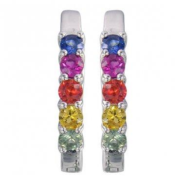 Rainbow Sapphire Huggie Earrings Prong Set 925 Sterling Silver (1.0ct tw) SKU: 2000-925