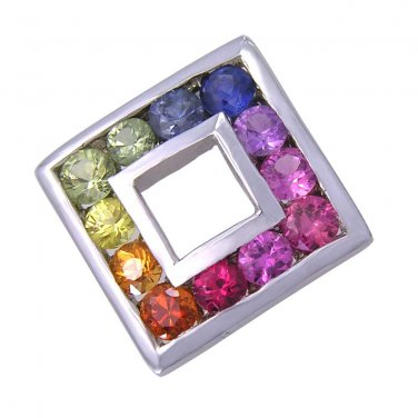 Rainbow Sapphire Square Pendant 925 Sterling Silver (2ct tw) SKU: 1603-925