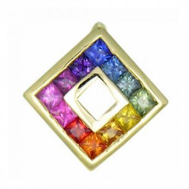 Rainbow Sapphire Square Pendant 14K Yellow Gold (2ct tw) SKU: 1603-14K-YG