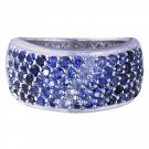 5 Row Graduating Blue Sapphire Ombre Ring 925 Sterling Silver Ring (3.5ct tw) SKU: 1835-5 row