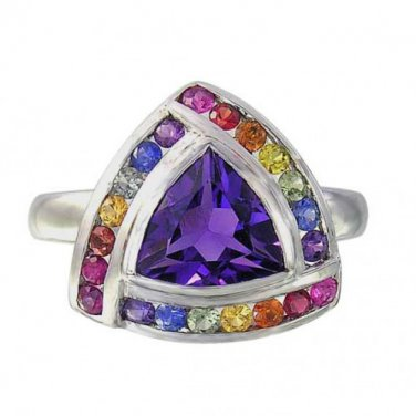 Rainbow Sapphire & Amethyst Trillion Cluster Ring 925 Sterling Silver (2.26ct tw) SKU: 1839-925