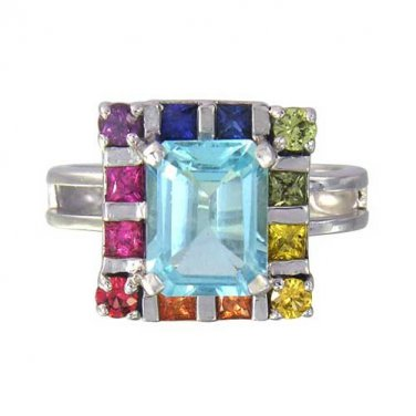 Rainbow Sapphire & Blue Topaz Rubix Cube Ring 925 Sterling Silver (3.26ct tw) SKU: 1785-925