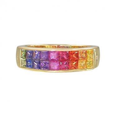 Rainbow Sapphire & Diamond Invisible Set Ring 14K Yellow Gold (2.02ct tw) SKU: 435-14K-YG