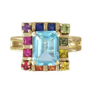 Rainbow Sapphire & Blue Topaz Rubix Cube Ring 14K Yellow Gold(3.26ct tw) SKU: 1785-14K-YG