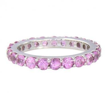 Pink Sapphire Eternity Ring 14K White Gold (5ct tw) SKU: 1862-14K-WG