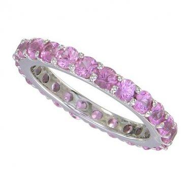 Pink Sapphire Eternity Ring 18K White Gold (5ct tw) SKU: 1862-18K-WG