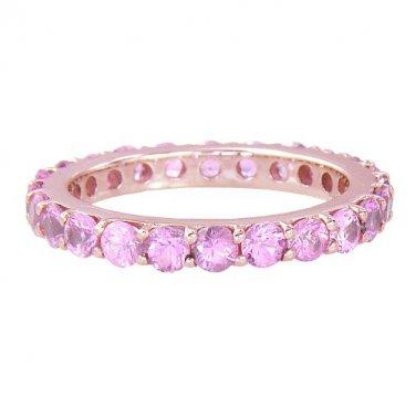 Pink Sapphire Eternity Ring 18K Rose Gold (5ct tw) SKU: 1862-18K-PG
