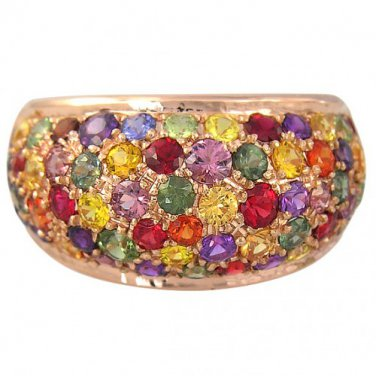 Rainbow Sapphire Multi Color Dome Ring 14K Pink Gold (6.3ct tw) SKU:1619
