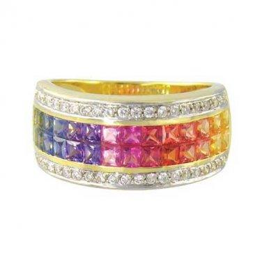 Rainbow Sapphire & Diamond Invisible Set Band Ring 14K Yellow Gold (4.3ct tw) SKU: 1532-14K-YG