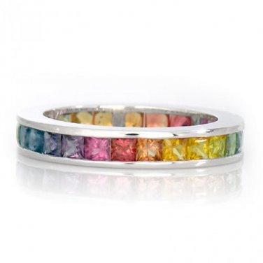 3.5mm Rainbow Sapphire Eternity Ring 18K White Gold (6ct tw) SKU: 895-3.5-18K