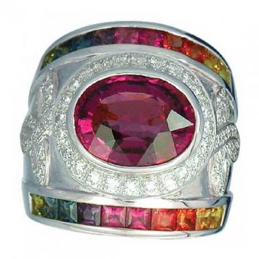 Rainbow Sapphire & Tourmaline With Diamond Ring 18K White Gold (6.87ct tw) SKU: 444-18K-WG