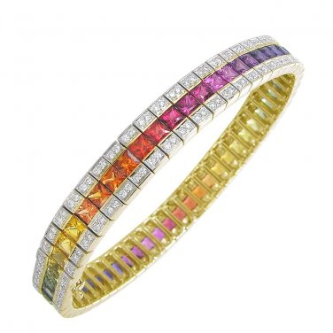 Rainbow Sapphire & Diamond Tennis Bracelet 18K Yellow Gold (14ct tw) SKU: 1612-18K-YG
