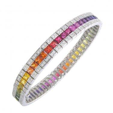Rainbow Sapphire & Diamond Tennis Bracelet 18K White Gold (14ct tw) SKU: 1612-18K-WG