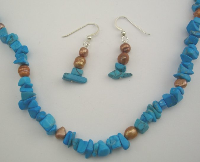 Leah Southwest Turquoise & Copper Pearl Necklace & Earring Set
