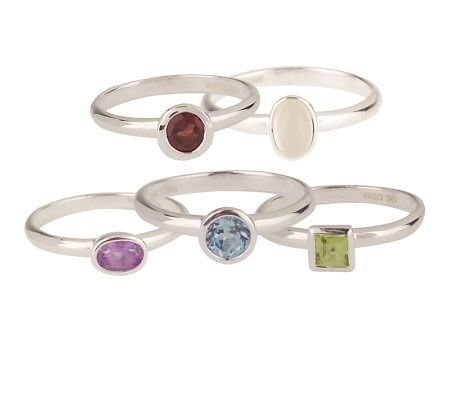 New sz 6 Leon Hall Sterling Gemstone Stack Ring Set of 5