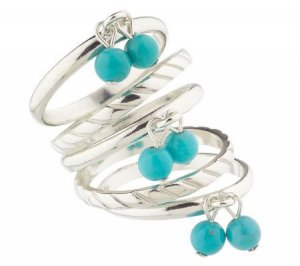 New Sterling Set of 5 Turquoise Dangle Stack Rings Sz 7