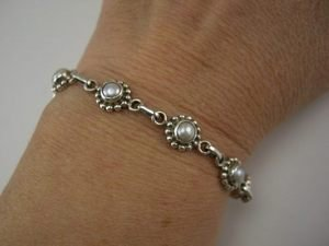 Artistic Sundance Style Sterling & Cabochon Pearl Bracelet