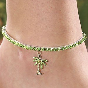 New Glitzy & Fun Austrian Crystal Palm Tree Anklet