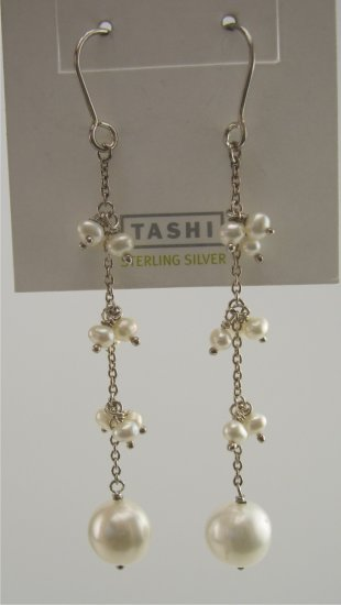 New Tashi Canadian Designer Sterling & Pearl Drop Earrings
