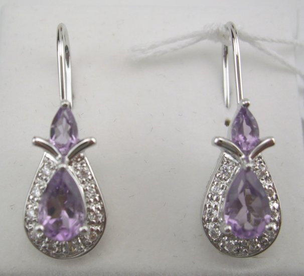 New Sterling Genuine Amethyst & CZ Art Deco Style Earrings