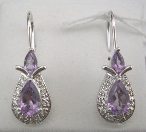 New Sterling Genuine Amethyst & CZ Art Deco Style Earrings