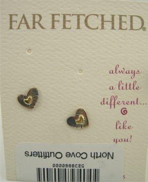 New Far Fetched Sterling 2-Tone Heart in Heart Earrings