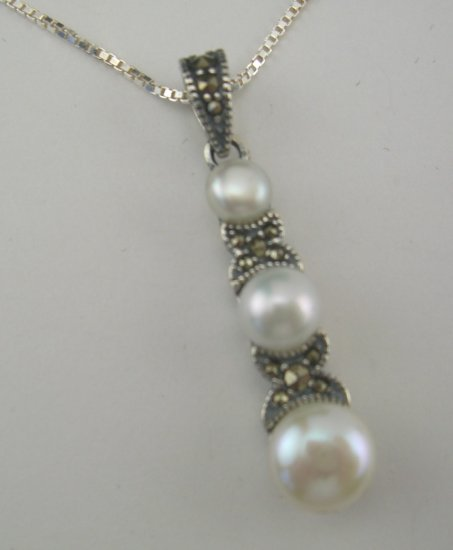 New Sterling Freshwater Pearl & Marcasite Necklace Signed JC