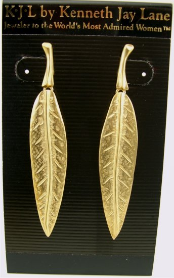 New Kenneth Jay Lane KJL Long Gold Leaf Drop Earrings