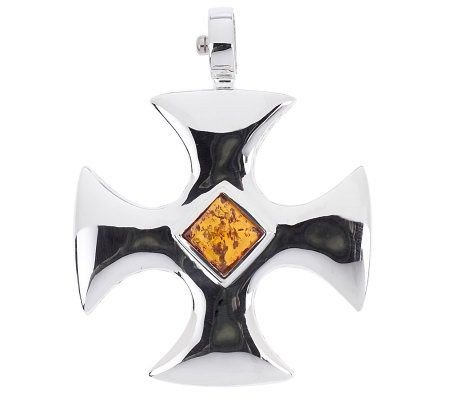 New Joseph Esposito Sterling & Amber Maltese Cross Snap-on Enhancer