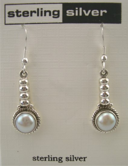 New Artsy Sterling Pearl Cabochon Drop Earrings
