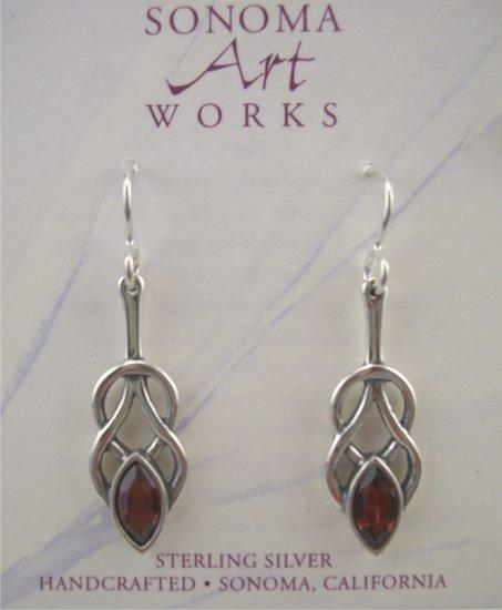 New Sonoma Art Works Sterling & Garnet Woven Knot Earrings