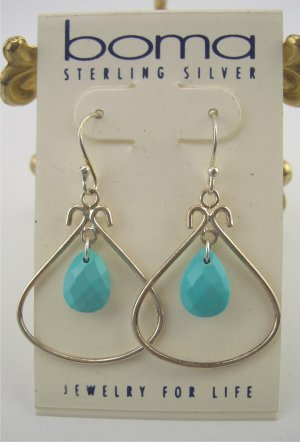 New Boma Sterling Chic Faceted Turquoise Drop Earrings