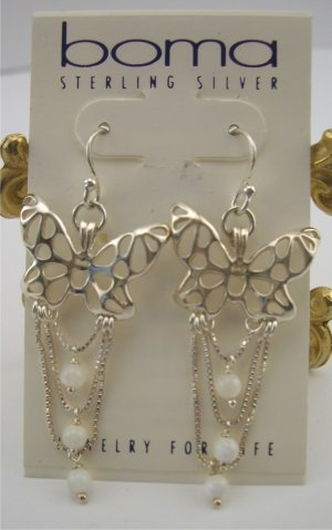 New Boma Sterling Draped Lace Butterfly & Mother of Pearl Earrings