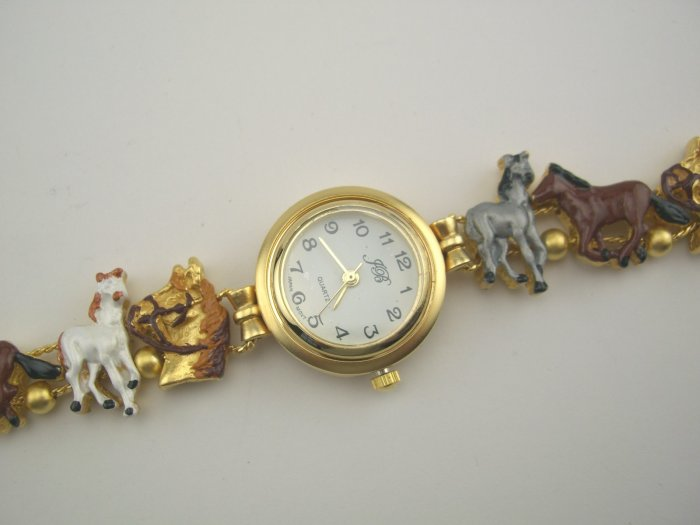 New JB Equestrian Enamel Horse Slide Bracelet Watch