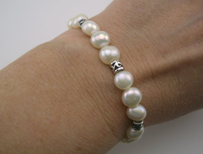 Classic Freshwater Cultured Pearl & Sterling Filigree Bracelet