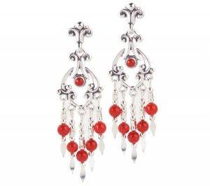 New Designer Southwestern Sterling & Coral Chandelier Earrings