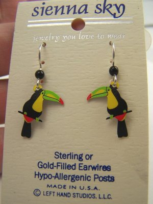 New Sienna Sky Artistic Enamel Sterling Toucan Earrings