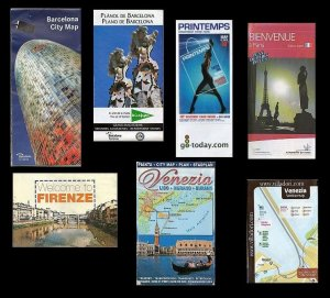 Lot of 7 European Maps: Venice, Firenze, Paris, Barcelona