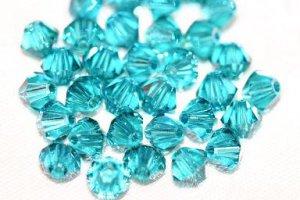 12 SWAROVSKI CRYSTAL BLUE ZIRCON- 4MM BICONE BEADS