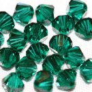 12 SWAROVSKI CRYSTAL EMERALD- 4MM BICONE BEADS