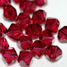 12 SWAROVSKI CRYSTAL RUBY- 4MM BICONE BEADS