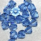 12 SWAROVSKI CRYSTAL MEDIUM SAPPHIRE- 4MM BICONE BEADS