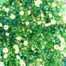 MIXED GREEN GLASS SEED BEADS