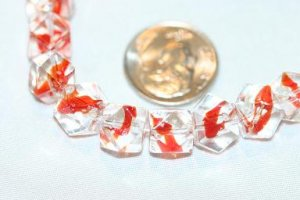 CLEAR WITH RED PATTERN GLASS BEADS-13 INCH STRAND