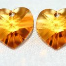 2 SWAROVSKI CRYSTAL 10MM TOPAZ HEART BEADS
