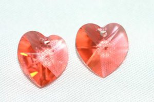 2 SWAROVSKI CRYSTAL 10MM PADPARADSCHA HEART BEADS