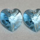 2 SWAROVSKI CRYSTAL 10MM AQUAMARINE HEART BEADS