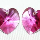 2 SWAROVSKI CRYSTAL 10MM FUCHSIA HEART BEADS