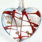 GLASS SILVER FOIL HEART PENDANT